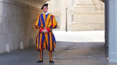 Stock Video Footage of VATICAN CITY, AUGUST 2015: swiss guards of pope