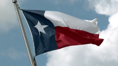 Texas Lone Star Flag Waving in the Wind in Slow Motion Stock Footage