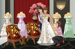 Bride Fitting Her Wedding Gown - stock illustration