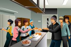 Volunteers Serving Food to Homeless People - stock illustration