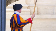 swiss guards of pope, vativan city, 4k - stock footage
