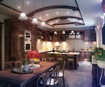 kitchen classical style - stock illustration