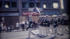 1962: Parade of military men and women synchronized marching.   BUFFALO, NEW Stock Footage