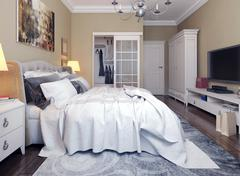 Bedroom in neoclassicism style - stock illustration