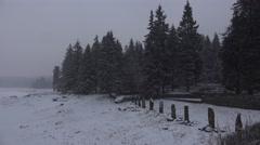 4k Winter snow mountain range Harz forest panorama Stock Footage