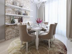 dining room in neoclassical style - stock illustration