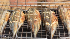 Cooking grilled fish barbecue Stock Footage
