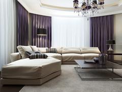 Living room in Art Deco style - stock illustration