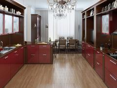 Kitchen in the Art Deco style - stock illustration