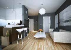 Apartment study modern style - stock illustration