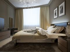 Bedroom interior in modern style - stock illustration