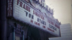 1965: Frank Sinatra marquee at Chinese theatre for Von Ryan's Express movie. Stock Footage