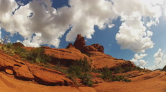 Hikers View Top Of Bell Rock With Clouds- Sedona AZ Stock Footage