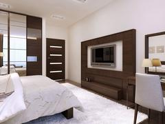 Bedroom interior high-tech style - stock illustration