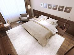 Bedroom interior high-tech style - stock illustration