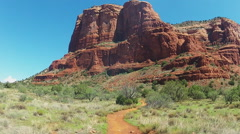 Tilt From Court House Butte To Hiking Trail- Sedona Arizona Stock Footage