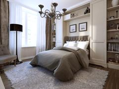 Bedroom art deco style - stock illustration