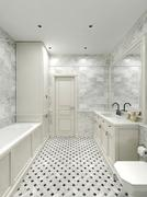Bathroom Art Deco style - stock illustration