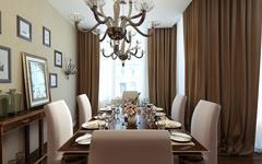 Dining room classical and art deco style - stock illustration