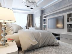Bedroom modern neoklasika - stock illustration