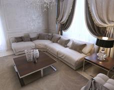living room art deco style - stock illustration