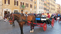 ROME - ITALY, AUGUST 2015: horse cab at spanish square Stock Footage