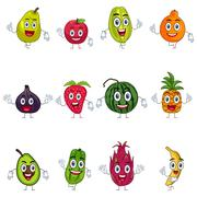 Fruit in Characters - stock illustration