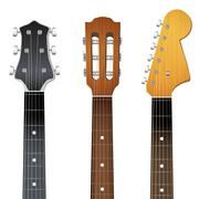 Set of Guitar neck fretboard and headstock Stock Illustration