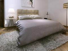Bedroom rustic style - stock illustration
