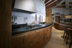 Kitchen rustic style - stock illustration