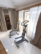 Stock Illustration of Fitness room rustic style