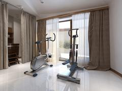 Fitness room Contemporary style - stock illustration