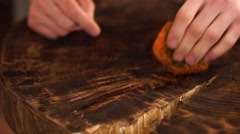 Wipe the table natural wood. Stock Footage