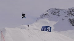 Snowboard trick extreme jump Stock Footage