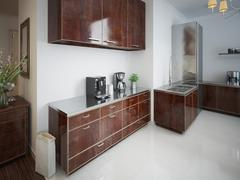 Contemporary kitchen with brown wooden furniture. - stock illustration