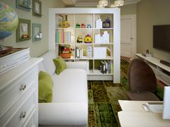 Stock Illustration of Modern children's room with white sofa and shelves.