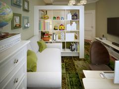 Modern children's room with white sofa and shelves. - stock illustration