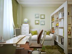 Modern children's room with children's table and shelving. - stock illustration