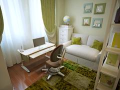 Modern children's room with children's table. - stock illustration