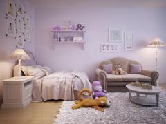 Children's room for girls classic style Stock Illustration
