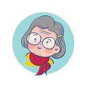 Old Happy Lady Character - stock illustration