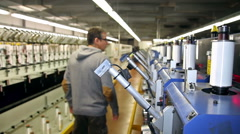 Textile Production Manager Working Inside Factory Stock Footage