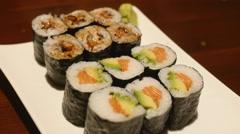 Sushi roll dish Stock Footage