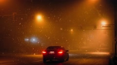 Cars On Highway At Night In Snowy Weather - stock footage