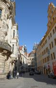Skyline of buildings on Schloss Street in Dresden, Saxony, Germany. Stock Photos