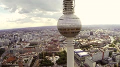 Aerial Berlin television tower Fernsehturm Drohne Luftaufnahme Stock Footage
