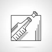Champagne bottle black flat line vector icon - stock illustration