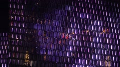 Harpa theater lighting in christmas,close up,Reykjavik ,iceland Stock Footage