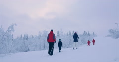 Cross-country ski run in snoed in winter landscape at Gålå, Norway, Scandinavia Stock Footage