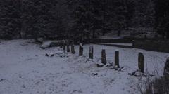 4k Granite posts winter snow mountain range Harz forest Stock Footage